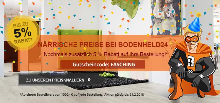 Närrische Preise bei Bodenheld24: Jetzt 5 % Extra-Rabatt auf Ihre Bestellung sichern!